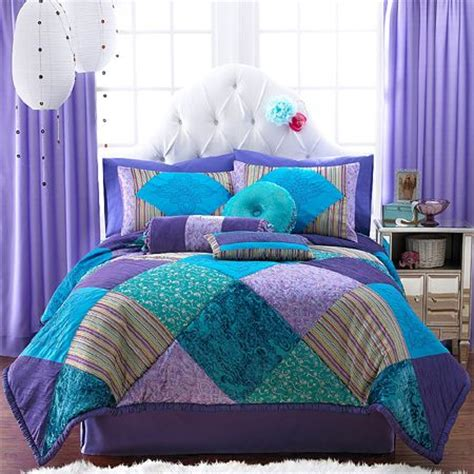 teal and purple bed in a bag duvet bedding
