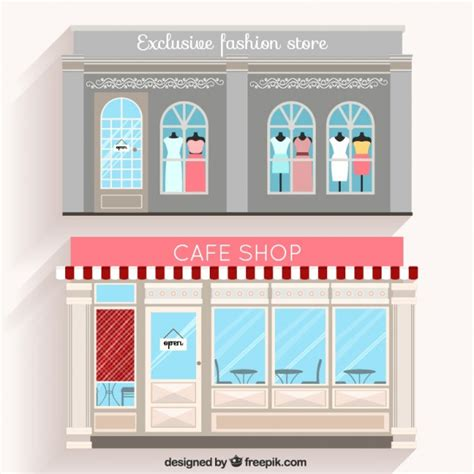 coffee shop flat design fashion shop and cafe facades in flat design vector free