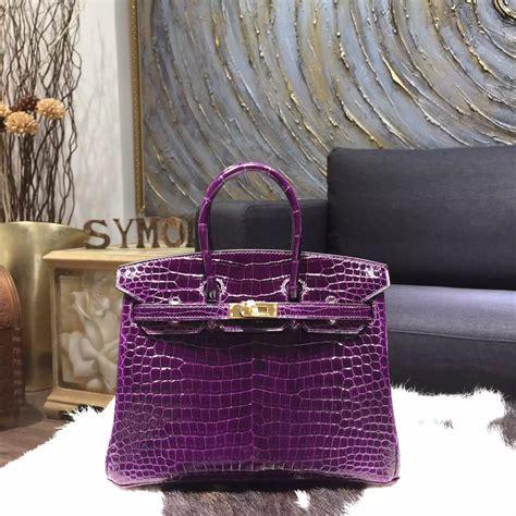 Celines Teal Crocodile Skin Boogie Handbag by Hermes Purple Birkin Crocodile Skin Herms Bags