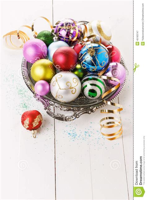 colorful christmas ornaments over white background stock