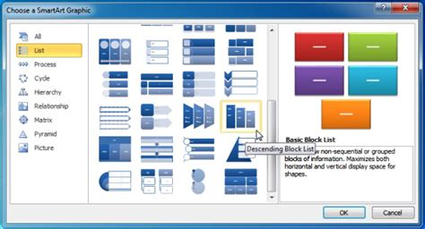 smartart templates for word using descending block list smartart in powerpoint