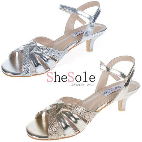 shosole brand silver low heel wedding shoes kitten heels