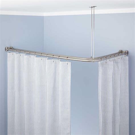 neo angle double solid brass shower curtain rod bathroom clawfoot shower curtain rod signaturehardware com