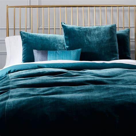velvet bedding luxe midnight blue velvet duvet cover shams