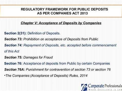 section 76 of the companies act acceptance of public deposits