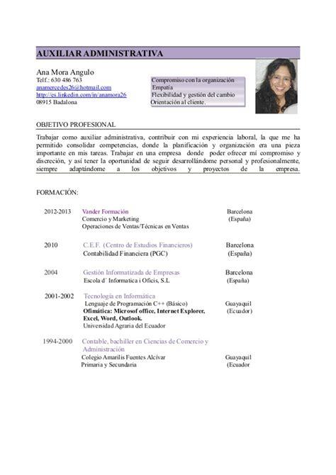 Plantilla De Curriculum Vitae Para Administrativo C V Auxiliar Administrativa