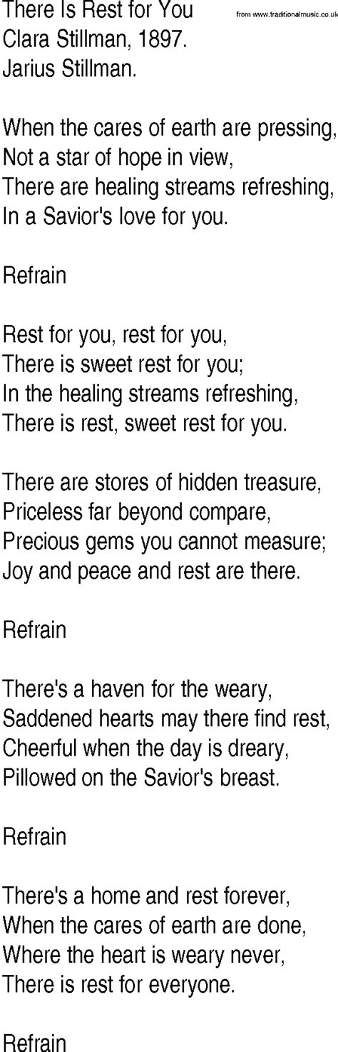 There S A Place Of Rest Lyrics Hymn And Gospel Song Lyrics For There Is Rest For You By Clara Stillman