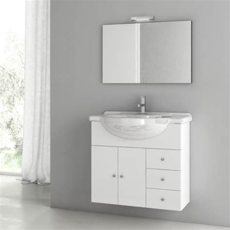 32 inch glossy white bathroom vanity set contemporary