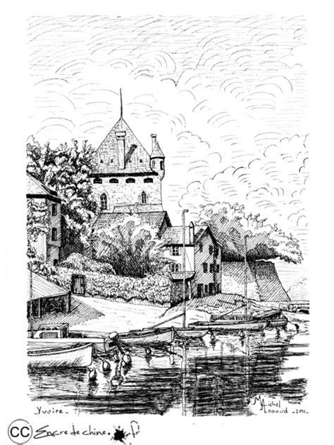dessin bateau encre de chine dessin encre de chine peinture postale lac l 233 man yvoire
