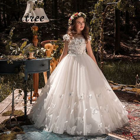 butterfly  kids pageant evening gowns  lace ball