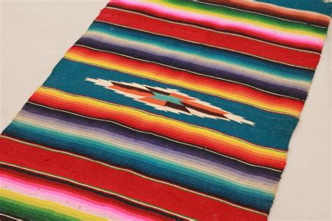 vintage mexico saltillo handwoven wool table runner cloth