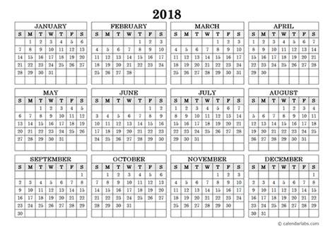simple calendar 2018 one year glance stock photo photo vector