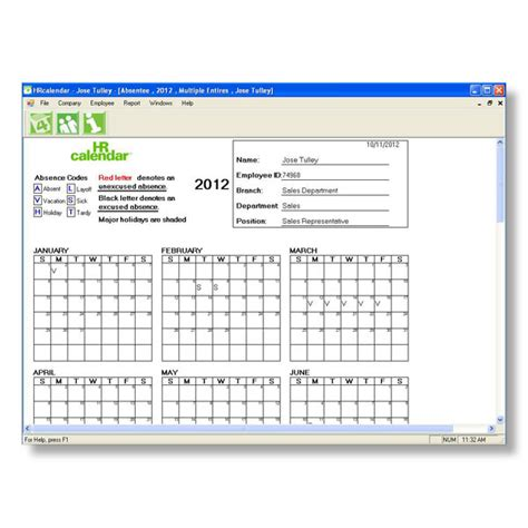 hr calendar template printable employee attendance tracker search results