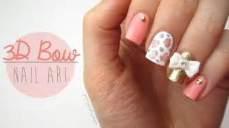 cute 3d bow nail designs images