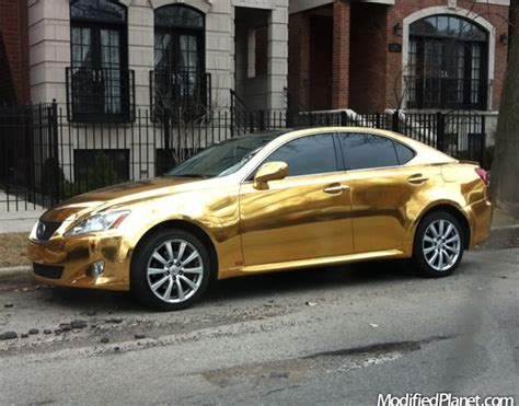 2008 lexus is350 with reflective gold chrome paint