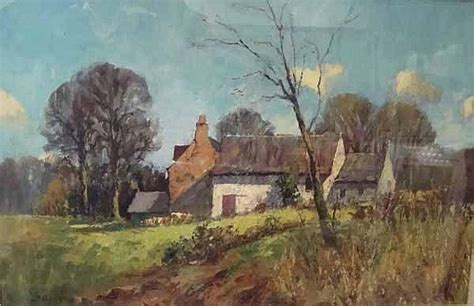 j d henderson cottage in rural setting oil on