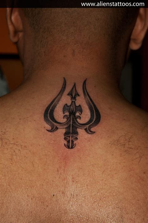 trishul tattoo trishul on back by aliens tattoos mumbai