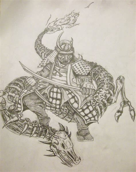 dragon warrior tattoo designs samurai design