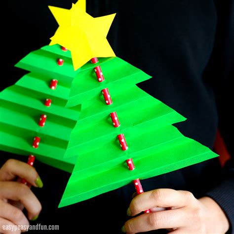 xmas tree activity out of construction paper accordion paper tree easy peasy and