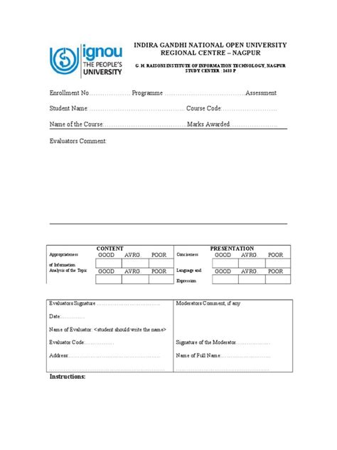 Ignou Mba Project Report Pdf by Ignou Assignment Cover Page Format
