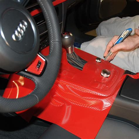 Car Interior Vinyl Wrap by Audi Rs7 Interior Console Wrap In Process With