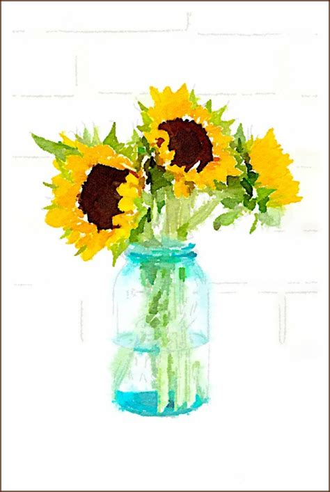 free painting no watercolor sunflower on sunflower paintings