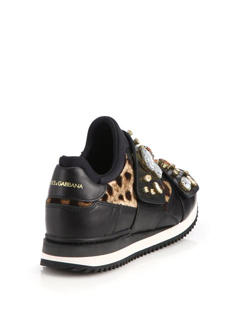 velvet sneakers lyst dolce gabbana jeweled leather leopard print