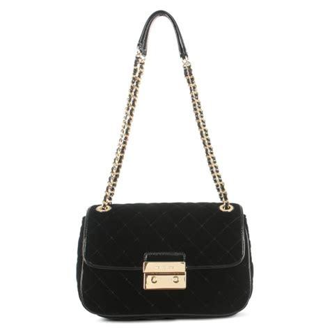 michael kors sloan large quilted black velvet shoulder bag