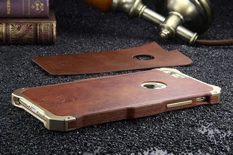 Apple Iphone 6 6s Hybrid Metal Bumper Leather Casing Cover Armor Kulit r just 174 apple iphone 6 6s rosewood shockproof aluminium