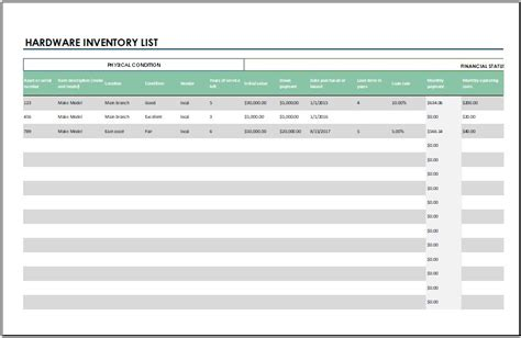 hardware inventory list template for excel word excel