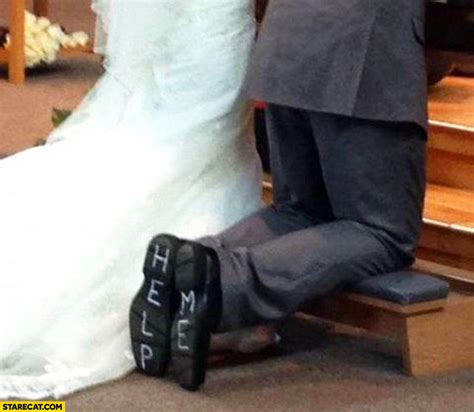 Wedding Help wedding help me written on bottom of the shoes starecat