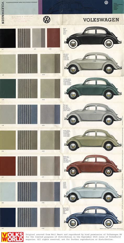 vw beetle colour charts volksworld