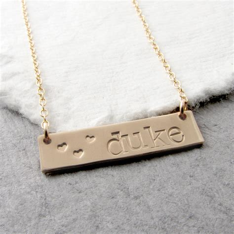 personalized name bar necklace custom gold bar name necklace