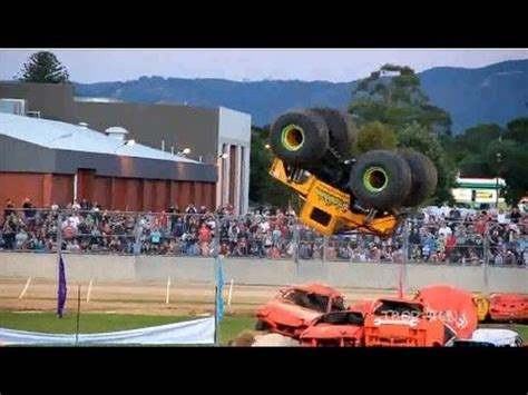 monster truck show accident best of monster truck fails crash and backflips to 2013