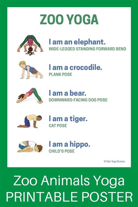 printable animal yoga cards 5 zoo yoga poses for kids printable poster zoo book
