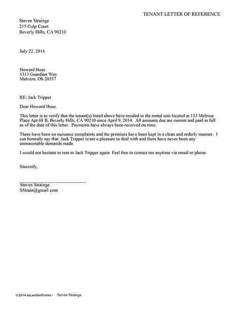 Reference Letter From Landlord To Landlord Tenant Reference Letter Ez Landlord Forms