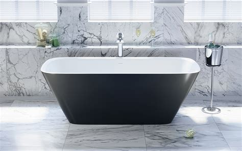 Bathtub Web by Aquatica Arabella Blck Wht Freestanding Solid Surface Bathtub