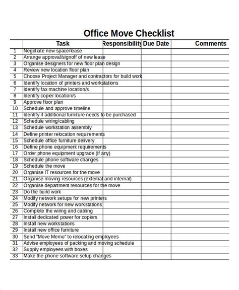 moving list template checklist template 19 free word excel pdf documents