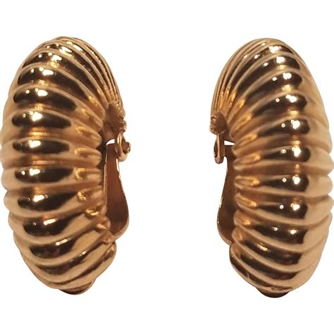 Gold Tone Clip Earrings vintage trifari gold tone clip earring crown from