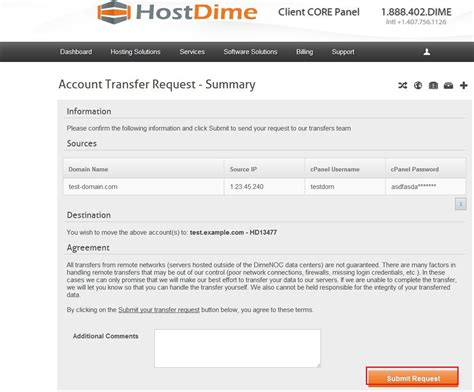 creating  cpanel account transfer request hostdime