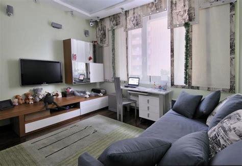 comfortable teen bedroom  grey sofa bed  grey