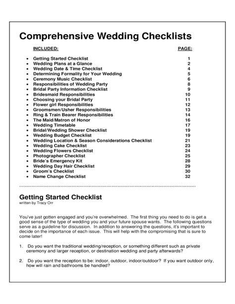 Wedding Checklist Form by Comprehensive Wedding Checklists Free