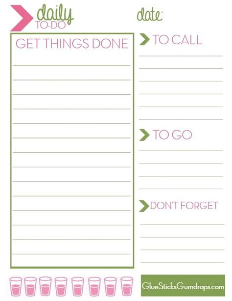 printable 5 day to do list free printable daily to do list glue sticks and gumdrops