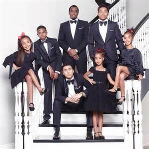 Diddy and shaunie o neal poses for christmas photos with their kids