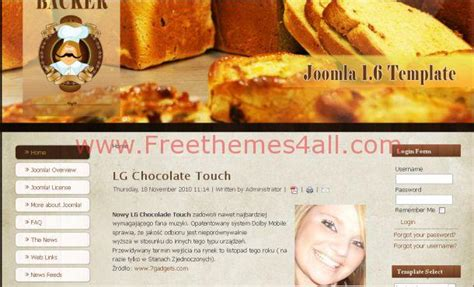 free baker chocolate brown joomla template freethemes4all