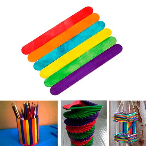 colored popsicle sticks 100 pcs new colored wood popsicle sticks wooden