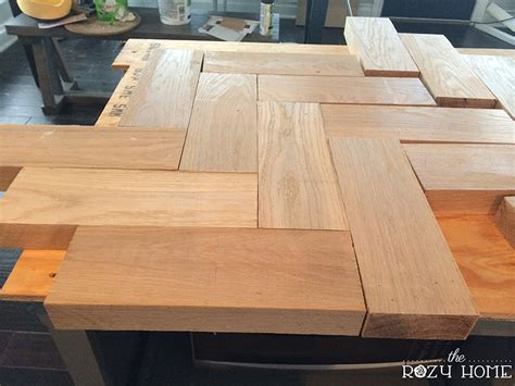 How To Build A Wooden Countertop by Diy Herringbone Wood Countertops The Rozy Home