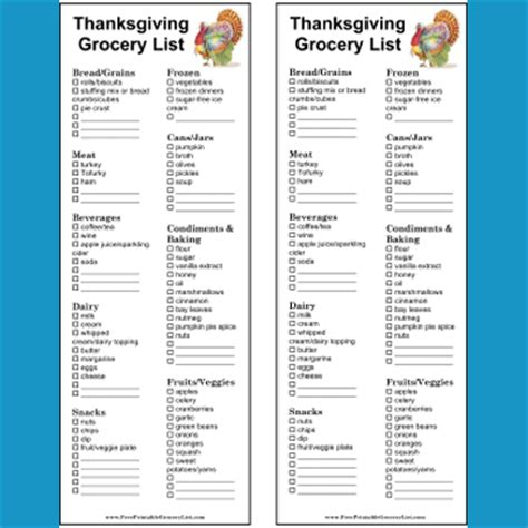 printable christmas dinner shopping list printable thanksgiving and christmas grocery lists