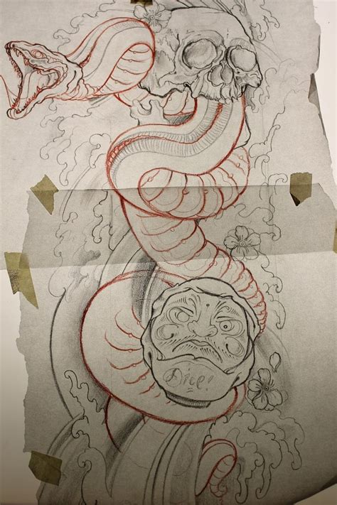 oriental snake tattoo designs snake skull and daruma ispiration