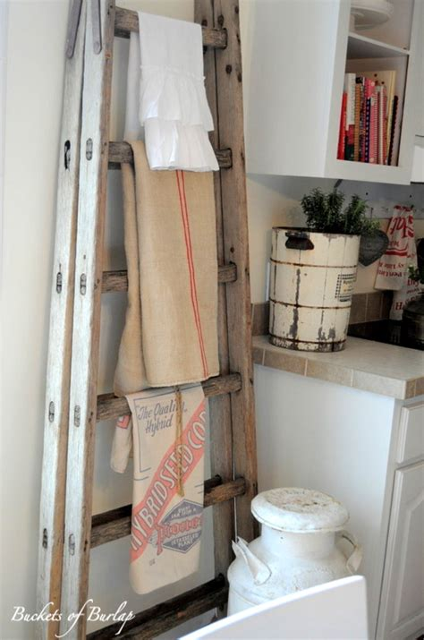 kitchen towel rack ideas how to decorate with vintage ladders 20 ways to inspire tidbits twine